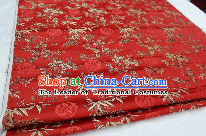 Chinese Traditional Ancient Costume Royal Palace Bamboo Pattern Tang Suit Red Brocade Cheongsam Satin Fabric Hanfu Material