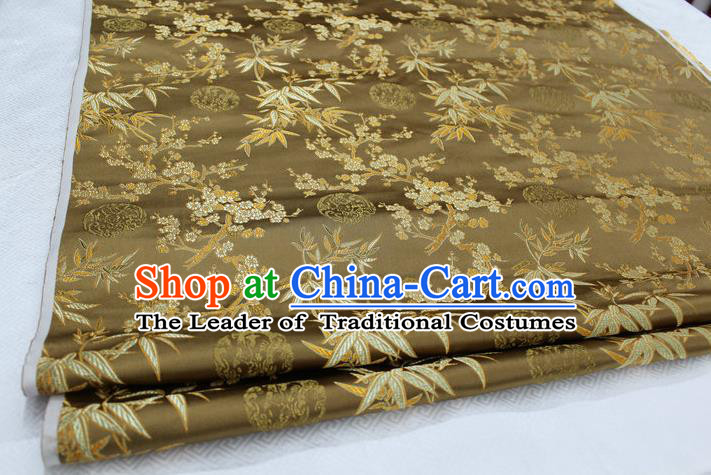Chinese Traditional Ancient Costume Royal Palace Bamboo Pattern Tang Suit Bronze Brocade Cheongsam Satin Fabric Hanfu Material