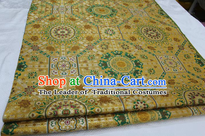 Chinese Traditional Ancient Costume Royal Palace Pattern Tang Suit Yellow Brocade Mongolian Robe Satin Fabric Hanfu Material