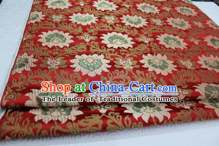 Chinese Traditional Ancient Costume Royal Palace Pattern Tang Suit Wedding Red Brocade Mongolian Robe Satin Fabric Hanfu Material