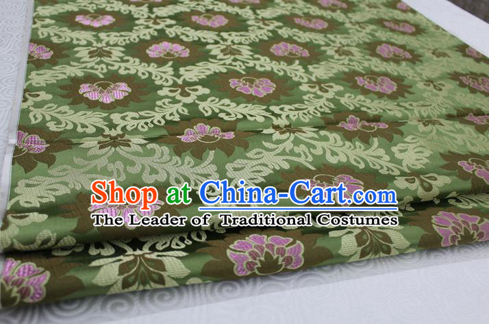 Chinese Traditional Ancient Costume Royal Palace Pattern Tang Suit Wedding Green Brocade Mongolian Robe Satin Fabric Hanfu Material