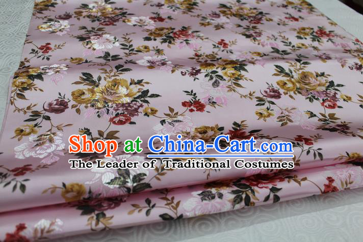 Chinese Traditional Ancient Costume Royal Palace Peony Pattern Pink Brocade Wedding Dress Satin Fabric Hanfu Material