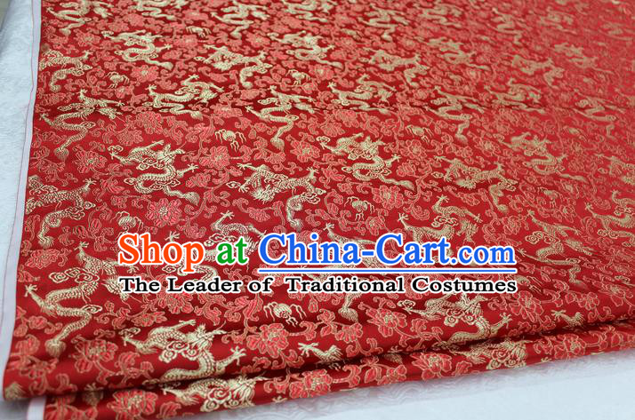 Chinese Traditional Wedding Cheongsam Red Brocade Ancient Costume Palace Dragons Pattern Satin Fabric Hanfu Material