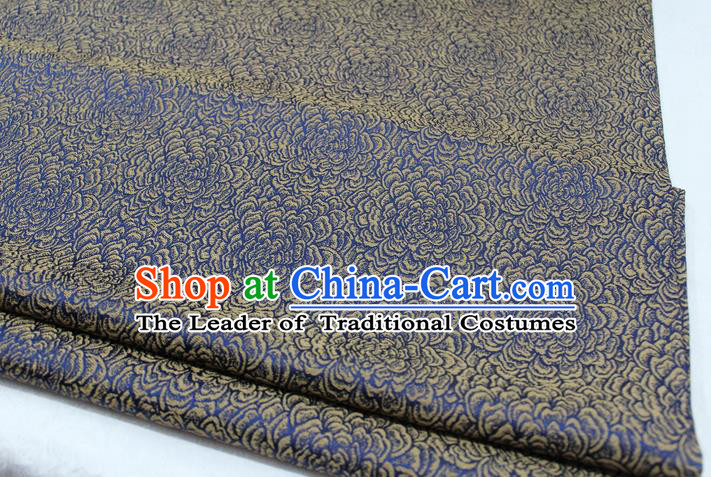 Chinese Traditional Clothing Mongolian Robe Tang Suit Blue Brocade Ancient Costume Palace Flowers Pattern Satin Fabric Hanfu Material