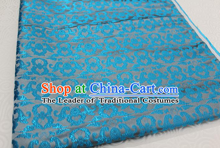 Chinese Traditional Clothing Palace Pattern Tang Suit Blue Brocade Ancient Costume Satin Fabric Hanfu Material