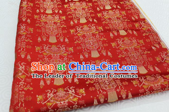 Chinese Traditional Clothing Palace Lantern Pattern Tang Suit Red Brocade Ancient Costume Satin Fabric Hanfu Material