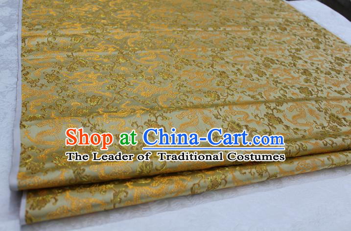 Chinese Traditional Wedding Clothing Cheongsam Golden Brocade Ancient Costume Palace Dragons Pattern Satin Fabric Hanfu Material