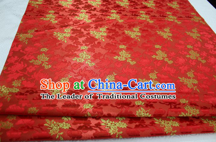 Chinese Traditional Wedding Clothing Palace Pattern Tang Suit Cheongsam Red Brocade Ancient Costume Satin Fabric Hanfu Material