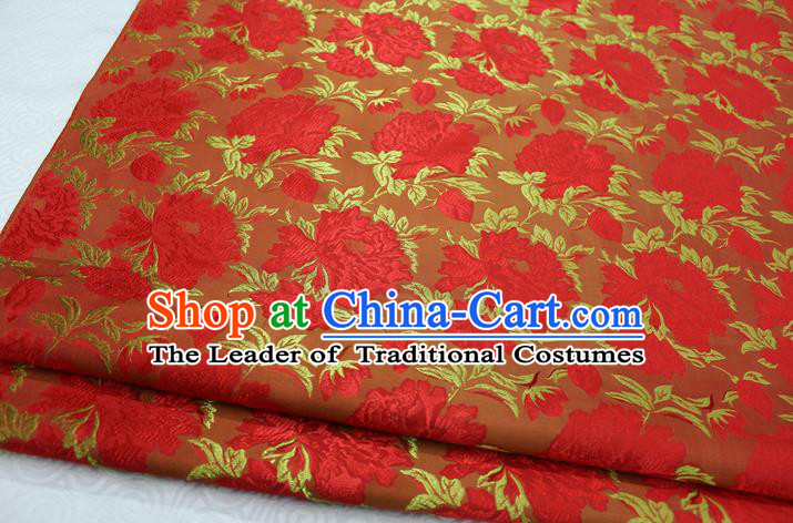 Chinese Traditional Wedding Clothing Palace Red Peony Pattern Tang Suit Cheongsam Brocade Ancient Costume Satin Fabric Hanfu Material