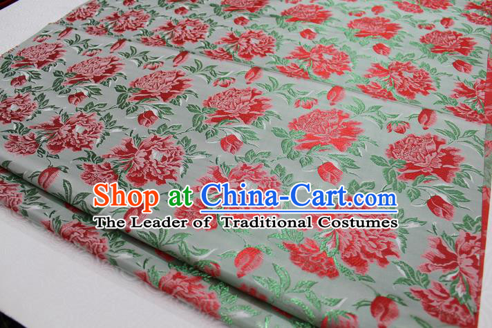 Chinese Traditional Wedding Clothing Palace Red Peony Pattern Tang Suit Cheongsam Green Brocade Ancient Costume Satin Fabric Hanfu Material