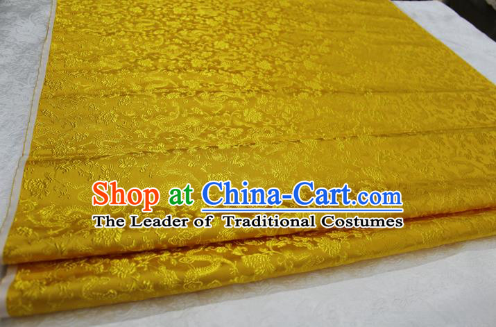 Chinese Traditional Wedding Clothing Cheongsam Yellow Brocade Ancient Costume Palace Dragons Pattern Satin Fabric Hanfu Material