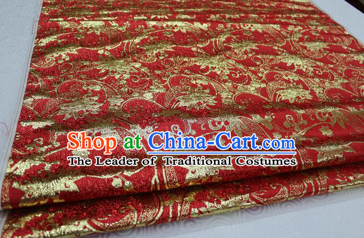 Chinese Traditional Wedding Clothing Palace Pattern Tang Suit Xiuhe Suit Red Brocade Ancient Costume Satin Fabric Hanfu Material