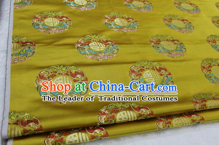 Chinese Traditional Wedding Clothing Tang Suit Yellow Brocade Ancient Costume Palace Fu Character Pattern Satin Fabric Hanfu Material