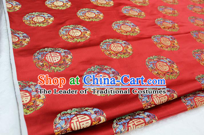 Chinese Traditional Wedding Clothing Tang Suit Red Brocade Ancient Costume Palace Fu Character Pattern Satin Fabric Hanfu Material