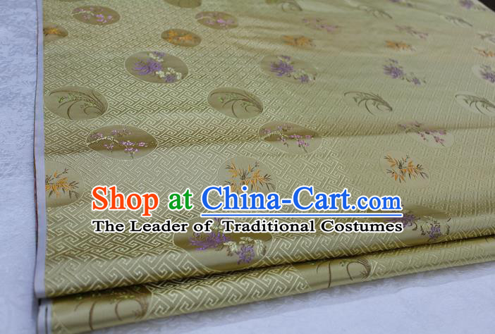 Chinese Traditional Wedding Clothing Tang Suit Yellow Brocade Ancient Costume Palace Plum Blossom Orchid Bamboo Chrysanthemum Pattern Satin Fabric Hanfu Material