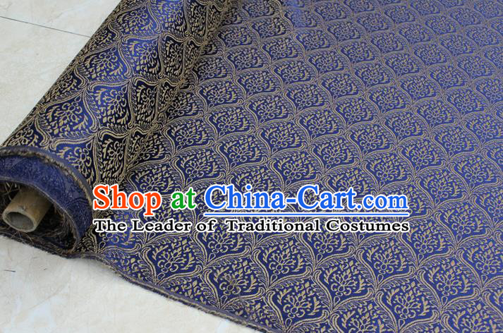 Chinese Traditional Clothing Mongolian Robe Tang Suit Blue Brocade Ancient Costume Palace Pattern Satin Fabric Hanfu Material