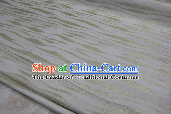 Chinese Traditional Clothing Mongolian Robe Tang Suit White Brocade Ancient Costume Palace Pattern Satin Fabric Hanfu Material