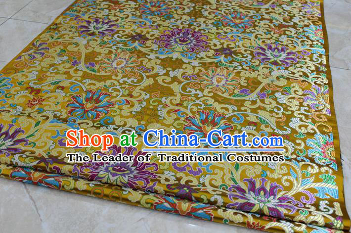 Chinese Traditional Ancient Costume Royal Palace Buddhism Lotus Pattern Mongolian Robe Yellow Brocade Tibetan Robe Satin Fabric Hanfu Material