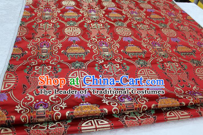 Chinese Traditional Ancient Costume Royal Palace Buddhism Double Fish Pattern Mongolian Robe Red Brocade Tibetan Robe Satin Fabric Hanfu Material