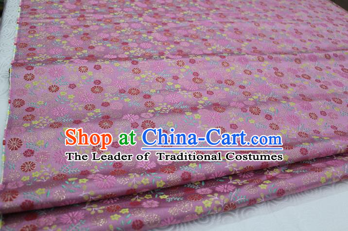 Chinese Traditional Ancient Costume Royal Palace Pattern Kimono Pink Brocade Cheongsam Satin Fabric Hanfu Material