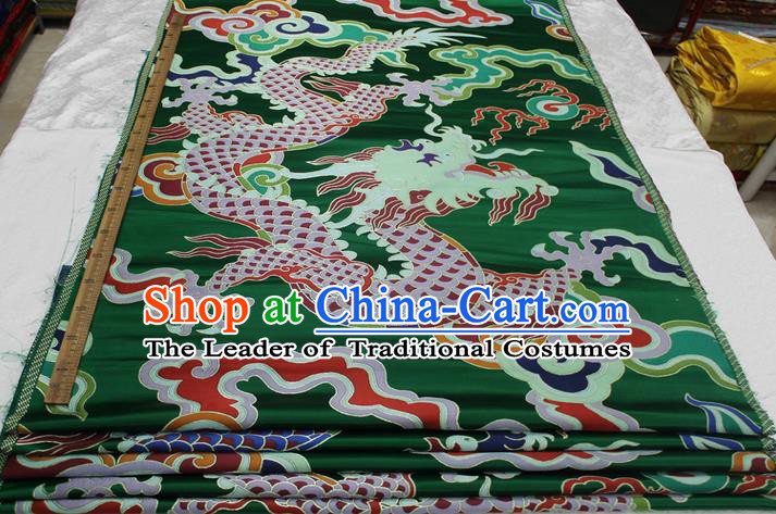 Chinese Traditional Ancient Costume Royal Palace Dragon Pattern Mongolian Robe Green Brocade Cheongsam Satin Fabric Hanfu Material