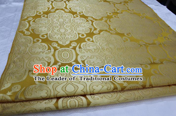 Chinese Traditional Ancient Costume Royal Palace Pattern Mongolian Robe Yellow Brocade Satin Fabric Hanfu Material