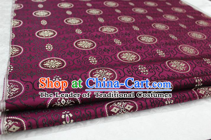 Chinese Traditional Ancient Costume Royal Palace Pattern Mongolian Robe Purple Brocade Tibetan Robe Satin Fabric Hanfu Material