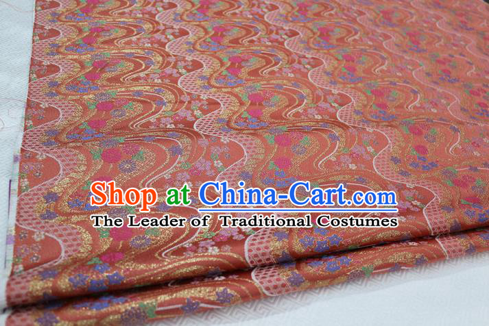 Chinese Traditional Ancient Costume Royal Palace Pattern Mongolian Robe Pink Brocade Tibetan Robe Satin Fabric Hanfu Material