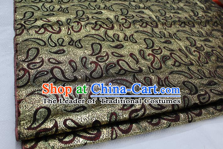 Chinese Traditional Ancient Costume Royal Palace Pattern Mongolian Robe Golden Brocade Tibetan Robe Satin Fabric Hanfu Material