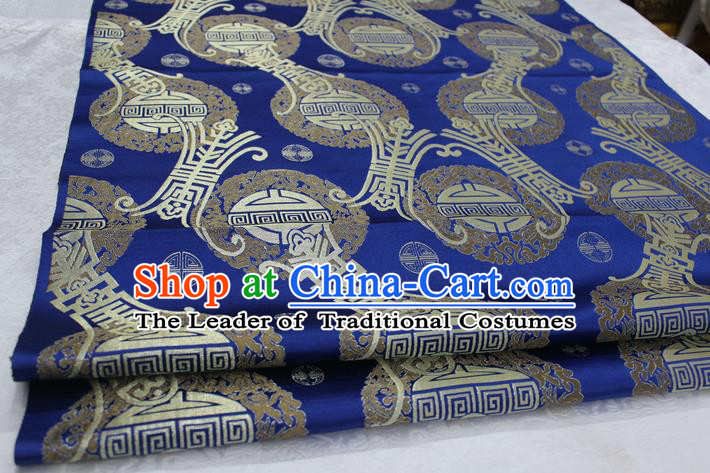 Chinese Traditional Ancient Costume Royal Palace Pattern Mongolian Robe Royalblue Brocade Satin Fabric Hanfu Material