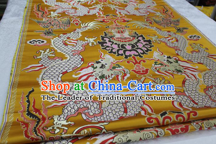 Chinese Traditional Ancient Costume Imperial Robe Yellow Brocade Royal Palace Dragon Pattern Tang Suit Cheongsam Satin Fabric Hanfu Material
