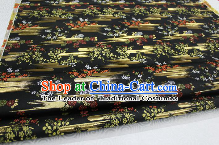 Chinese Traditional Ancient Costume Kimono Black Brocade Palace Pattern Cheongsam Satin Fabric Hanfu Material