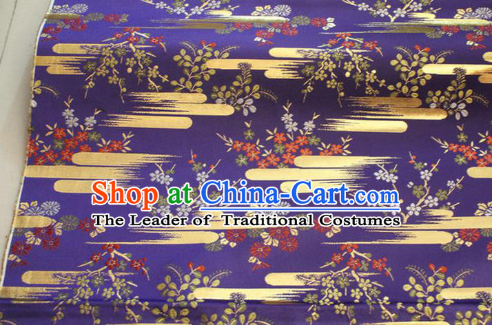 Chinese Traditional Ancient Costume Kimono Purple Brocade Palace Pattern Cheongsam Satin Fabric Hanfu Material