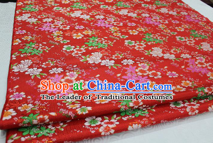 Chinese Traditional Ancient Costume Cheongsam Red Brocade Palace Flowers Pattern Kimono Satin Fabric Hanfu Material