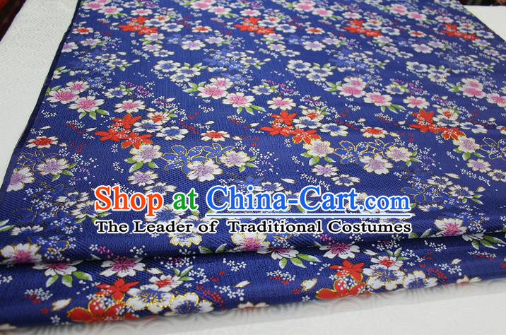 Chinese Traditional Ancient Costume Cheongsam Blue Brocade Palace Flowers Pattern Kimono Satin Fabric Hanfu Material