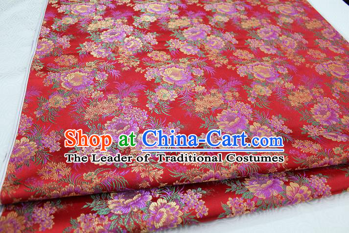 Chinese Traditional Ancient Costume Wedding Cheongsam Red Brocade Palace Peony Pattern Xiuhe Suit Satin Fabric Hanfu Material