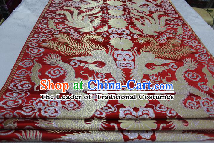Chinese Traditional Ancient Wedding Costume Red Cheongsam Brocade Palace Dragon Phoenix Pattern Xiuhe Suit Satin Fabric Hanfu Material