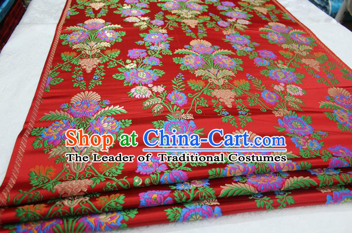 Chinese Traditional Ancient Wedding Costume Cheongsam Red Brocade Palace Pattern Xiuhe Suit Satin Fabric Hanfu Material