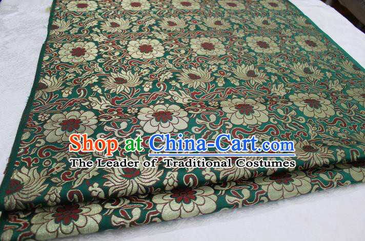 Chinese Traditional Ancient Wedding Costume Green Nanjing Brocade Palace Lotus Pattern Xiuhe Suit Satin Fabric Hanfu Material