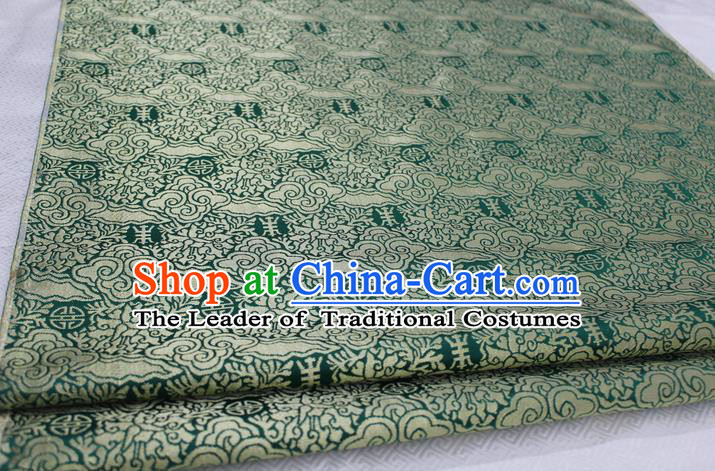Chinese Traditional Ancient Costume Mongolian Robe Green Brocade Palace Cloud Pattern Tang Suit Satin Fabric Hanfu Material