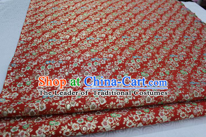 Chinese Traditional Ancient Costume Wedding Cheongsam Red Brocade Palace Pattern Satin Fabric Hanfu Material