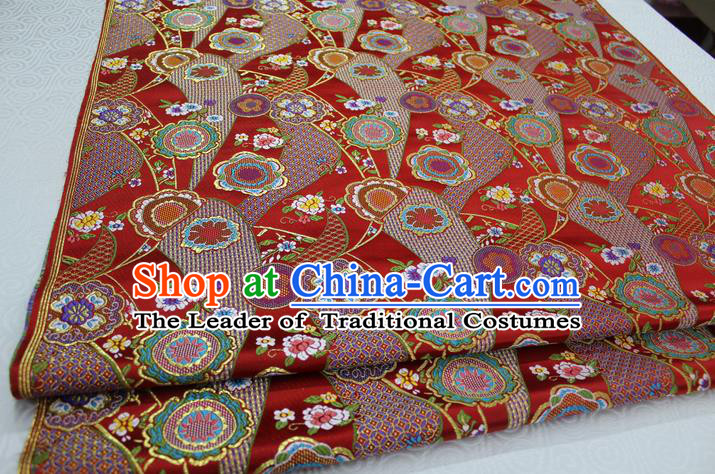 Chinese Traditional Ancient Costume Royal Palace Kimono Pattern Mongolian Robe Red Brocade Satin Fabric Hanfu Material