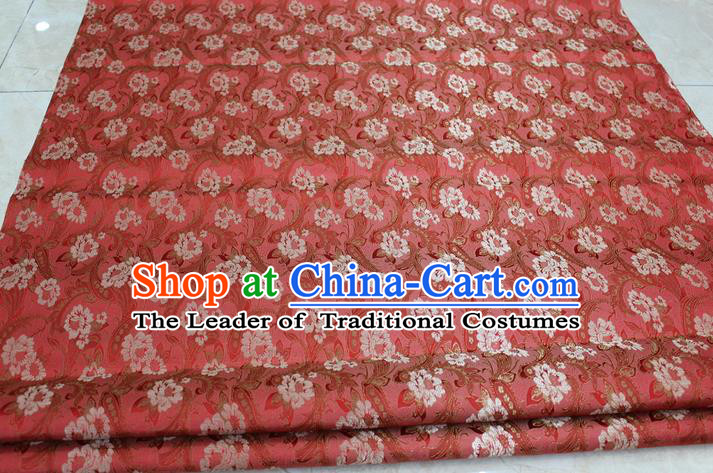 Chinese Traditional Wedding Cheongsam Ancient Costume Red Brocade Palace Pattern Tang Suit Satin Fabric Hanfu Material