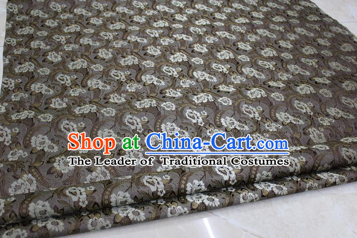 Chinese Traditional Wedding Cheongsam Ancient Costume Grey Brocade Palace Pattern Tang Suit Satin Fabric Hanfu Material