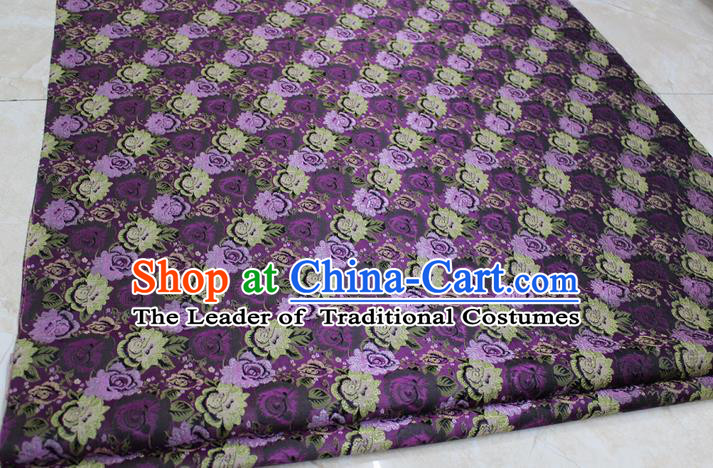 Chinese Traditional Wedding Cheongsam Purple Brocade Ancient Costume Palace Flowers Pattern Satin Fabric Hanfu Material