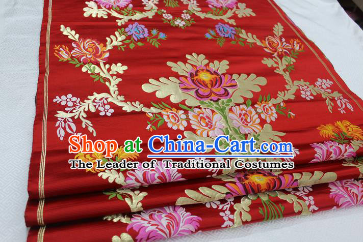 Chinese Traditional Clothing Palace Lotus Pattern Cheongsam Red Nanjing Brocade Ancient Costume Xiuhe Suit Satin Fabric Hanfu Material