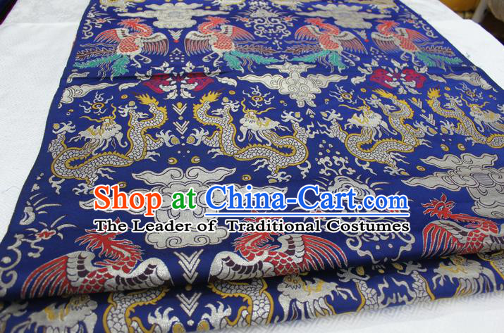 Chinese Traditional Clothing Palace Dragons Phoenix Pattern Cheongsam Blue Brocade Ancient Costume Xiuhe Suit Satin Fabric Hanfu Material