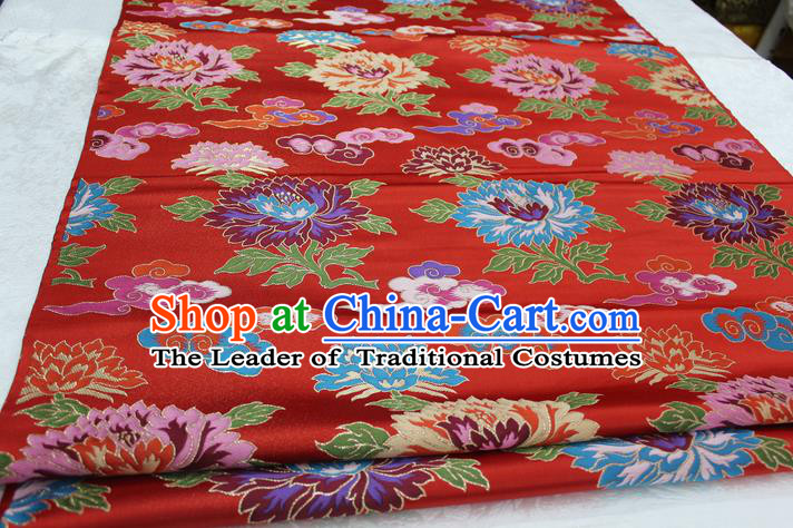 Chinese Traditional Clothing Palace Flowers Pattern Cheongsam Red Nanjing Brocade Ancient Costume Xiuhe Suit Satin Fabric Hanfu Material