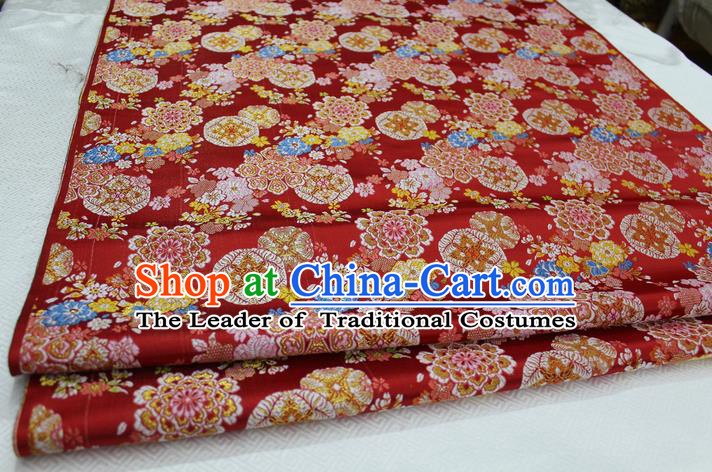 Chinese Traditional Clothing Palace Flowers Pattern Cheongsam Kimono Red Brocade Ancient Costume Xiuhe Suit Satin Fabric Hanfu Material