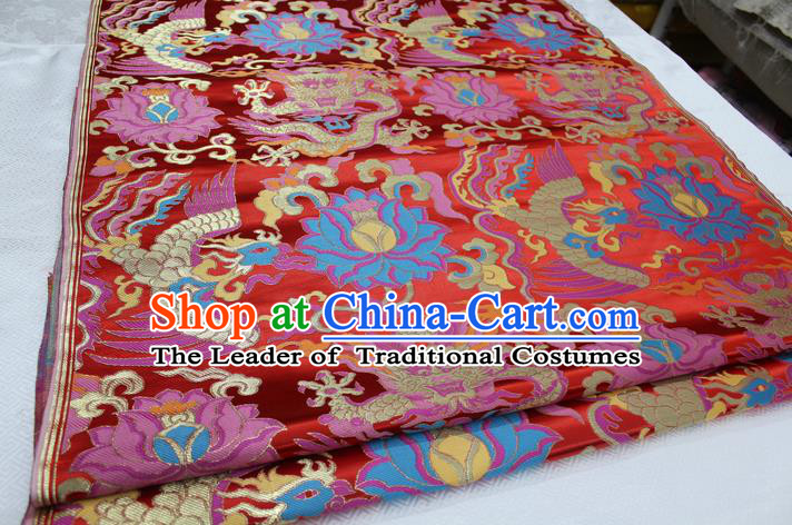 Chinese Traditional Clothing Palace Phoenix Pattern Cheongsam Red Brocade Ancient Costume Xiuhe Suit Satin Fabric Hanfu Material